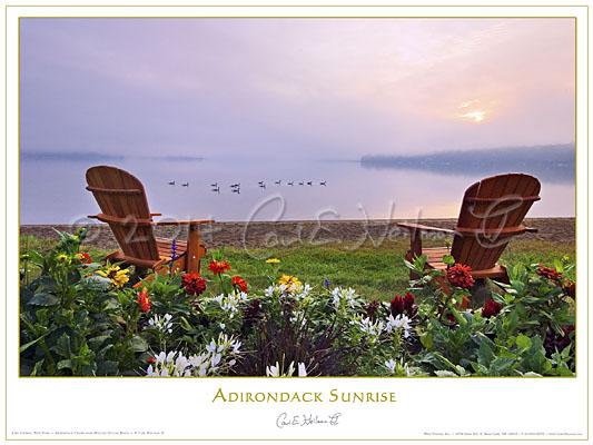 Adirondack Chairs poster, dawn on Lake George by Adirondack ...